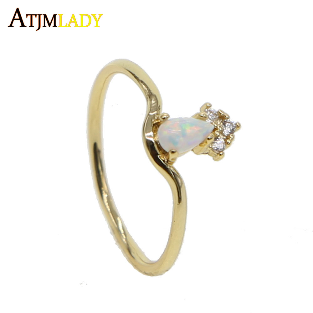 Sparkling opal water drop Ring Pave clear Tiny Small Cubic Zirconia Rhinestone delicate Gold Color Simple Trendy elegant Rings