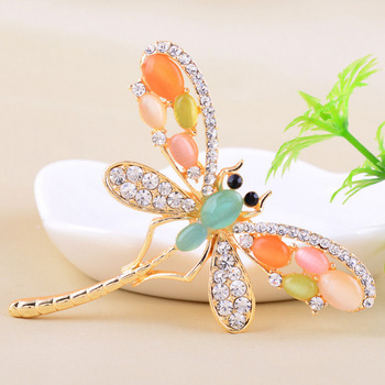 3 Colors Available Fashionable Colorful Opal Rhinestone Dragonfly Brooches For Women Luxury Fine Jewelry Christmas Gift