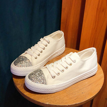 Simple and comfortable fashion canvas shoes sequins sewing line decoration student casual Korean girls flat