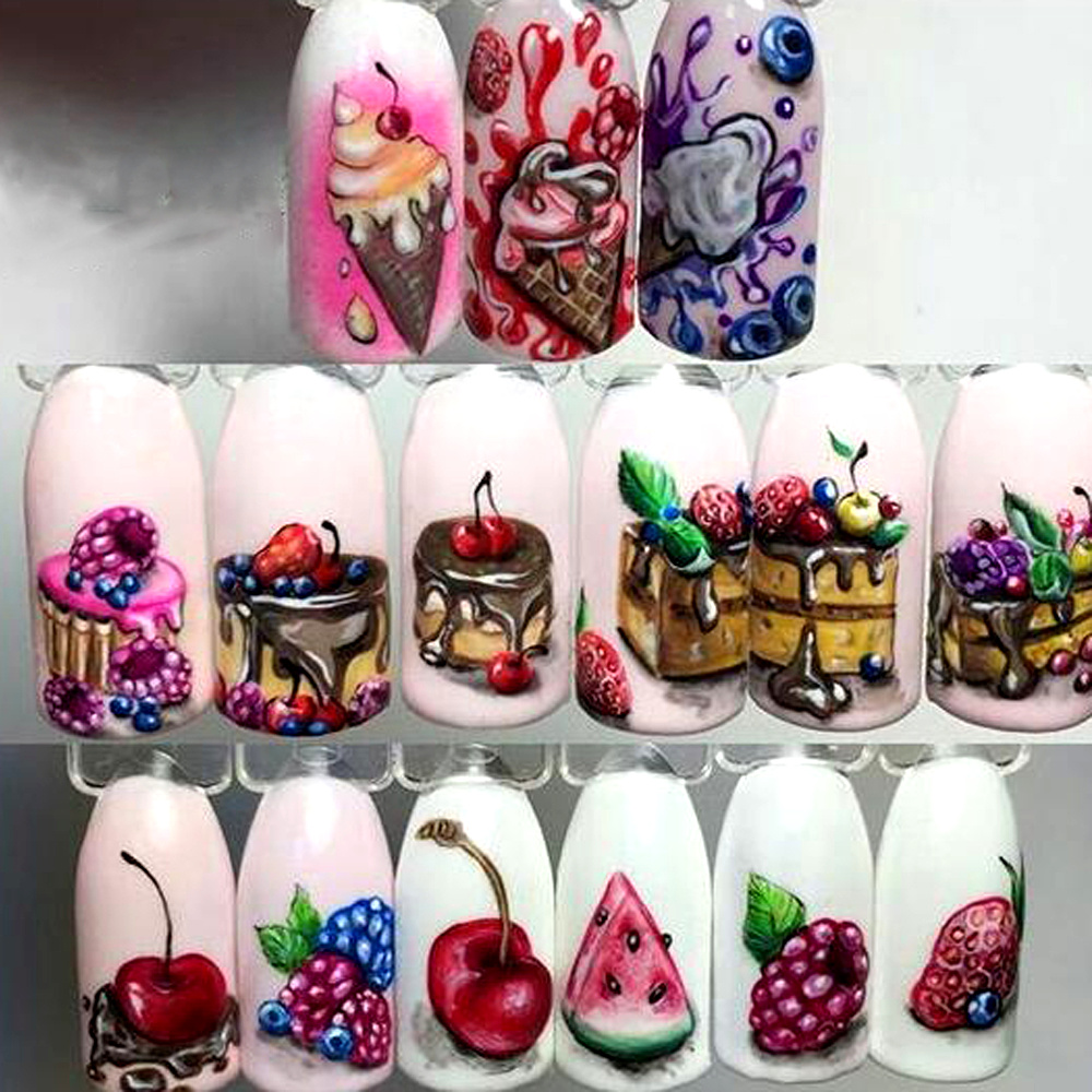 1 Sheets Nails Art Stickers Delicious Cake Manicure Colorful ...