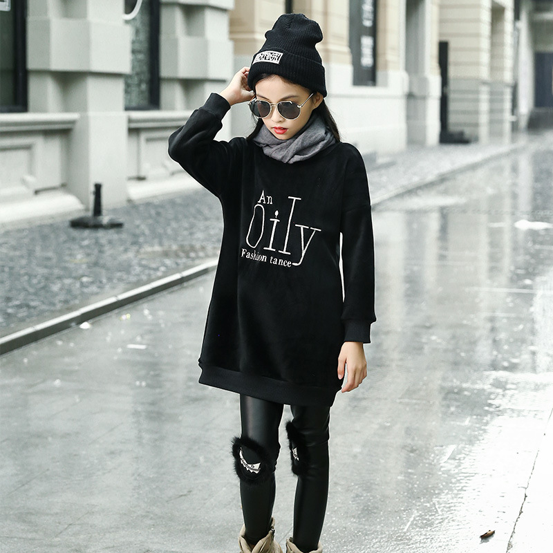 New Winter Girls Kids Letter Embroidery Sweatshirt For Girl Long Sleeve Kids Long Sweatshirts Casual Warm Thick Children Clothes