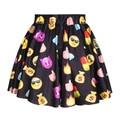 2015 новый забавный 3D emoji юбка мини юбка летом белый/черный/синий цвет faldas emoji мультфильм skirt2017