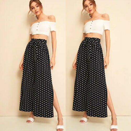 2019 Women Fashion   Wide     Leg     Pants   High Waist Loose Casual Baggy   Pant   Summer Style Black Dot Casual   Pants   Female Trousers