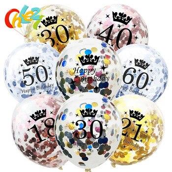 Decoración de feliz cumpleaños, 10 Uds., globos de confeti dorados, plateados, purpurina, fiestas, suministros de decoración perfecta