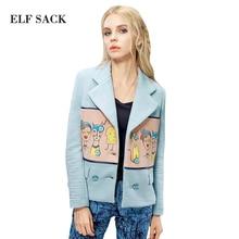 Elf SACK wine autumn female classic elegant print colorant match short jacket