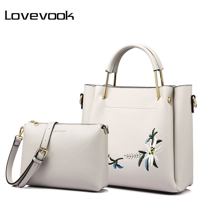 цена на LOVEVOOK women bag female handbag high quality PU composite bag with Embroidery 2 psc./set Tote messenger bags for women 2017