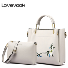 LOVEVOOK women bag female handbags high quality PU shoulder crossbody bag with Embroidery 2 psc./s tote messenger bags for women