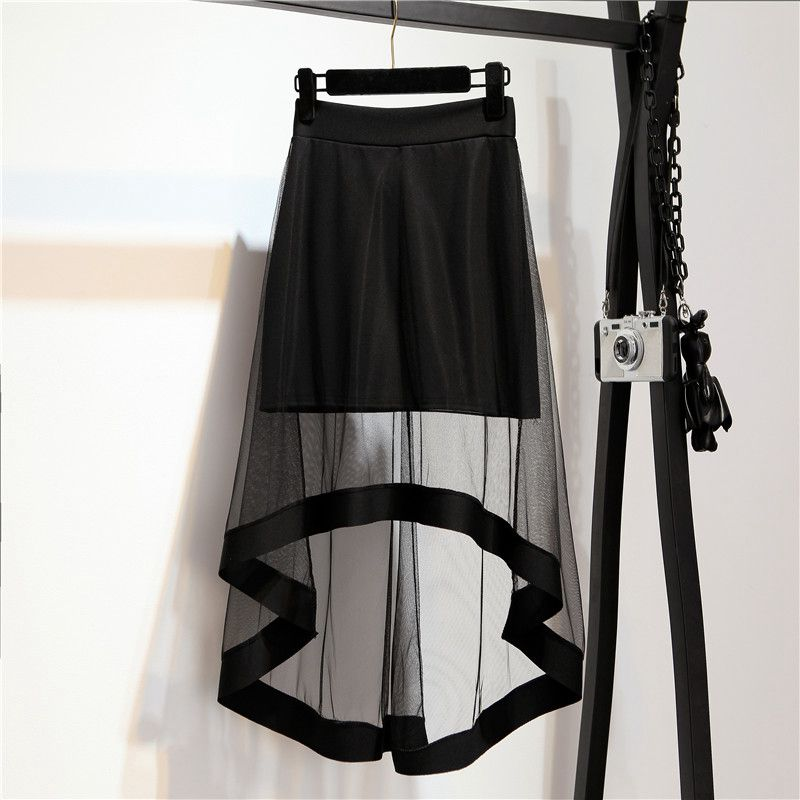 Women Sexy Lace Mesh Skirt Spring Summer Casual Elegant Vintage High Waist Hollow Out Tulle Black Trumpet Mermaid Skirt D194