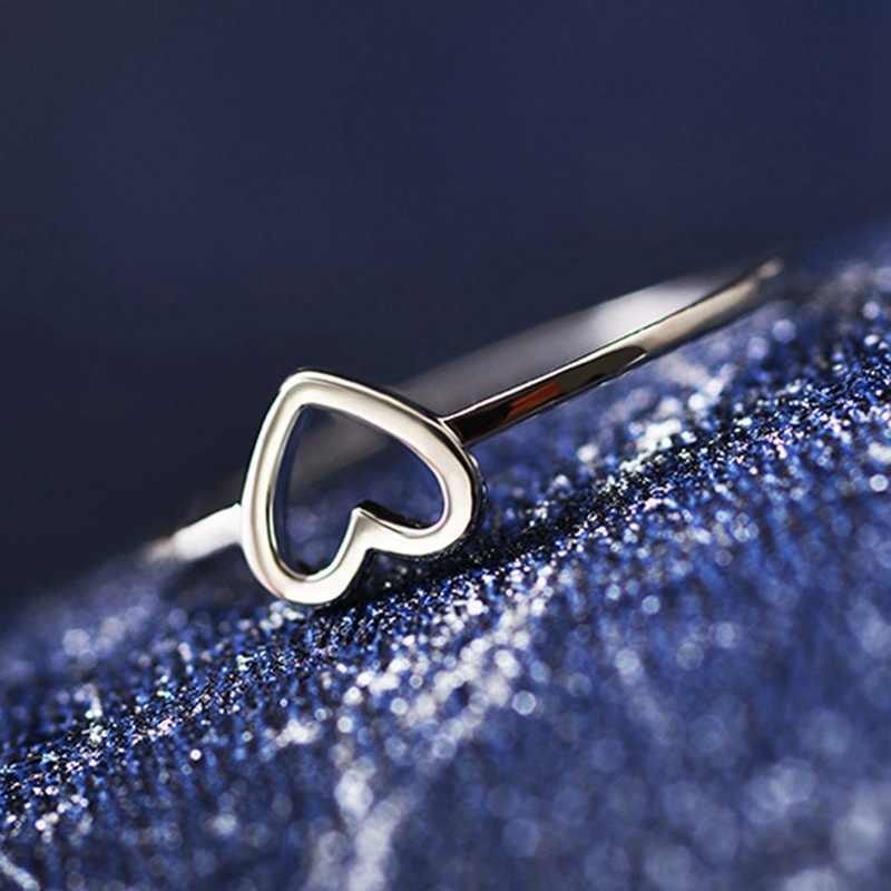 คุณภาพสูงสีทองหัวใจรักรูปร่างเสน่ห์แหวน Feminino กลางนิ้วเท้า Bague มิตรภาพนิรันดร์ตลอดไปของขวัญที่ดีที่สุด