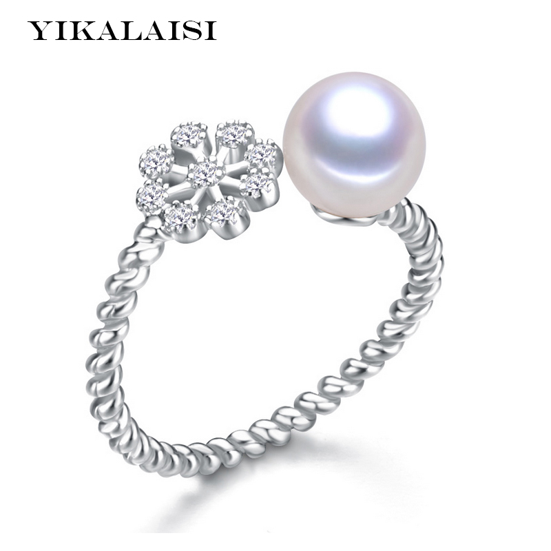 2016 Fashion Pearl Ring Snowflake Freshwater Pearl Ring Wedding Rings 925 Sterling Silver Jewelry Rings For