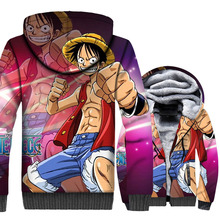 plus size Anime one piece jackets zip wool liner hoodies 3D Printed hipster casual tracksuits 2019 men thick swag coats M-5XL цена