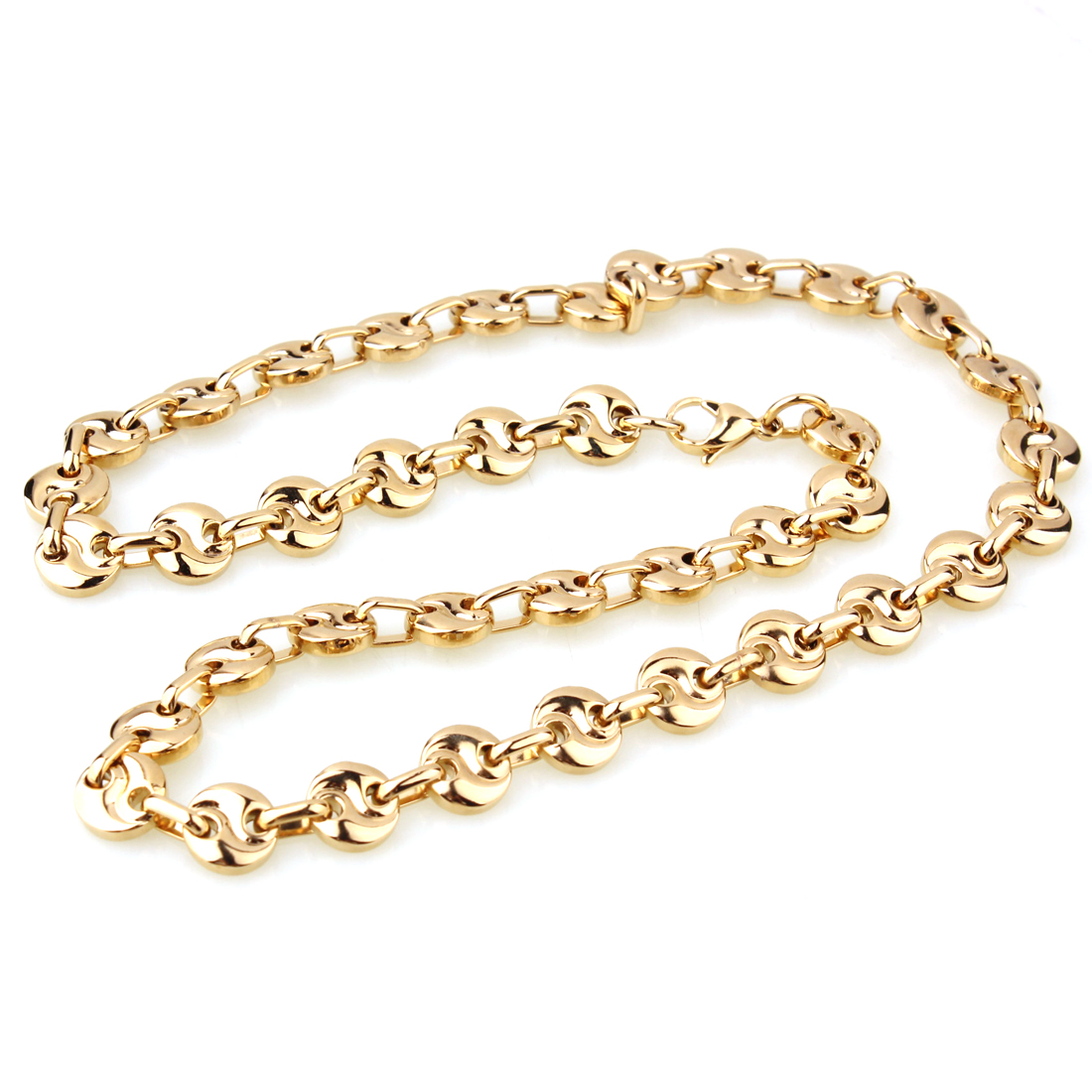 Fashion Mens Link Chain Top Gold Stainless Steel 10mm Mens Coffee Bean Chain Necklace Bracelet Mens Womens Necklace 7 40 inch in Chain Necklaces from Jewelry Accessories