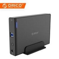 ORICO Алюминий 3,5 дюйма жесткий диск HDD корпус USB3.0 к SATA3.0 HDD случае док-станции Поддержка UASP 12V2A Мощность