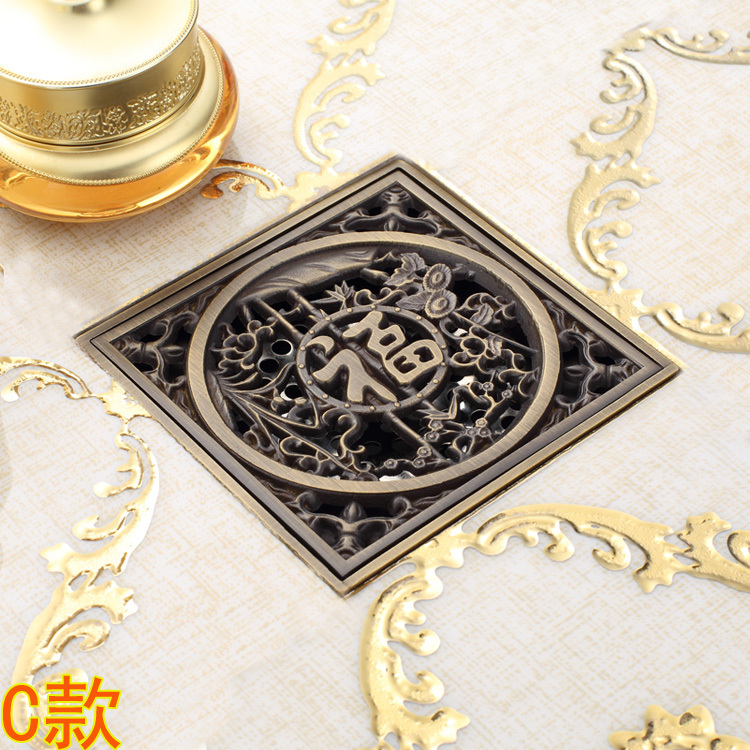 Antique Copper Anti-odor Square Blessing Bathroom Accessories Sink Floor Shower Drain Cover Luxury Sewer Filter K-8853