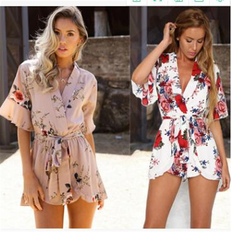 2019 New fashion print Loose Floral Playsuits Summer Sexy V-neck Bow Women   Jumpsuits   Flare Sleeve Print White Blue Khaki Shorts