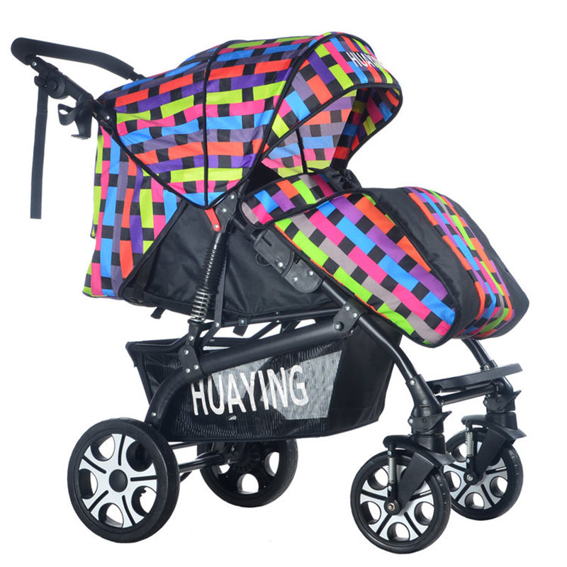 Luxury Baby Stroller with Foot Cover Portable Lying Two-way Baby Cart Widen Enlarge Sleeping Basket Newborn Pram Baby Trolleys mige stroller baby trolley cart folding baby carriage baby cart can be lying on the baby cart portable cart pram with 3 gift
