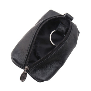 2018 Vintage Real Genuine Leather Wallet Women Keychain Covers Zipper Small Case Bag Men Key Holder Housekeeper Keys Organizer(China)