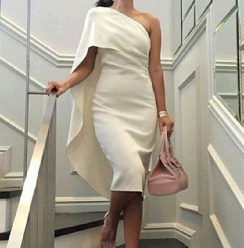 Plus Size Ivory 2019 Mother Of The Bride Dresses Sheath Tea Length One Shoulder Evening Prom
