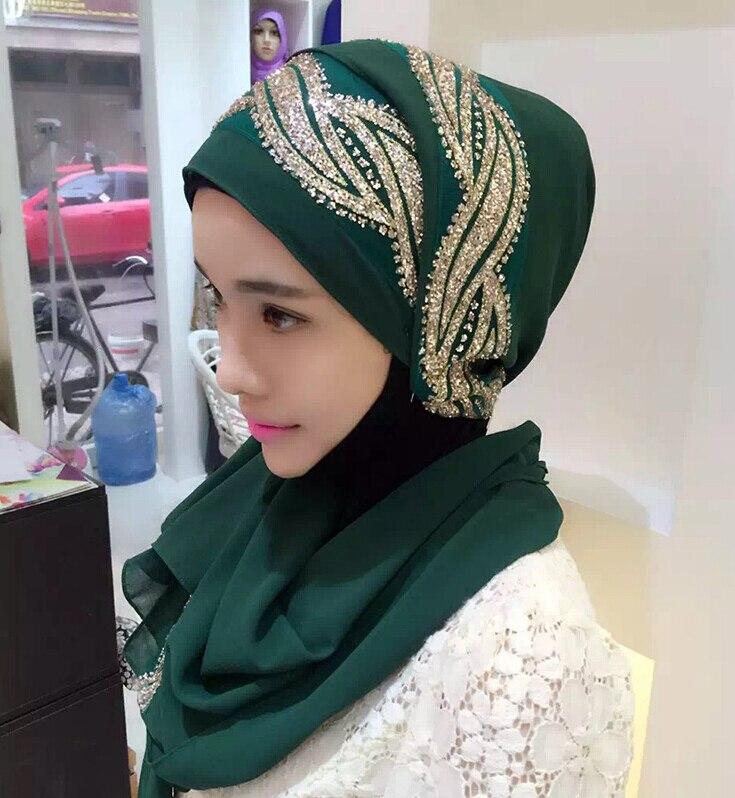 Female solid color GLITTER flower chiffon silk popular shawls muffler headband hijab summer muslim scarves/scarf
