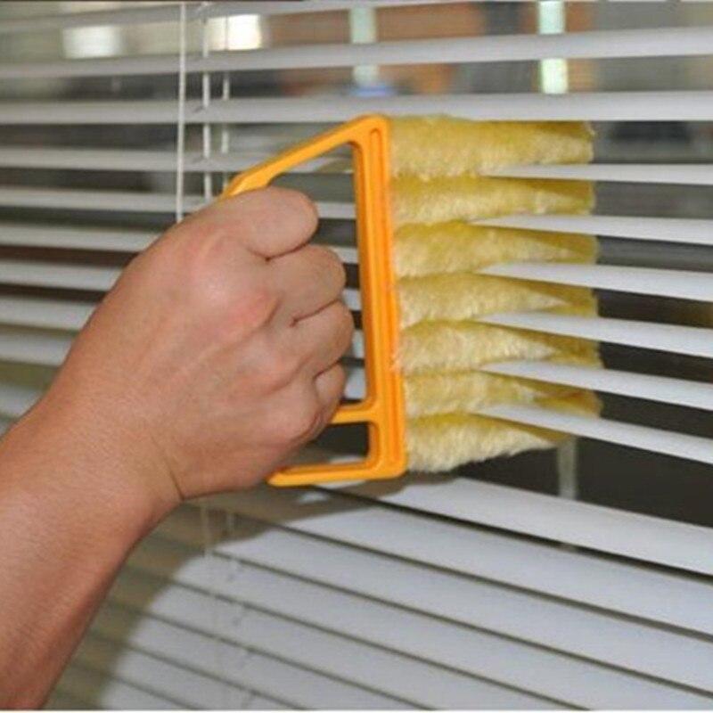Útil cepillo de limpieza de ventanas limpiador de polvo de aire acondicionado con cuchilla ciega veneciana lavable paño de limpieza del hogar