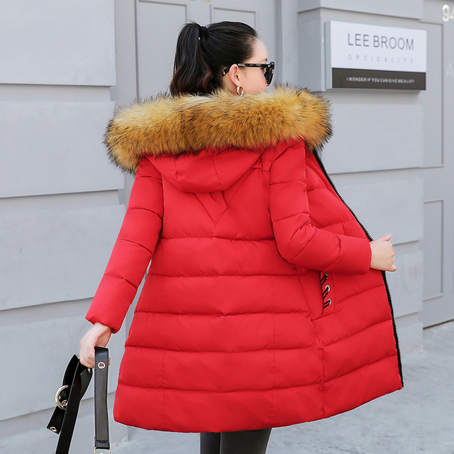 2019 Women's Winter Slim Down Cotton Jacket Large Size Fur Collar Hooded Down Cotton Jackets Women's Thick Warm Cool Cotton Coat