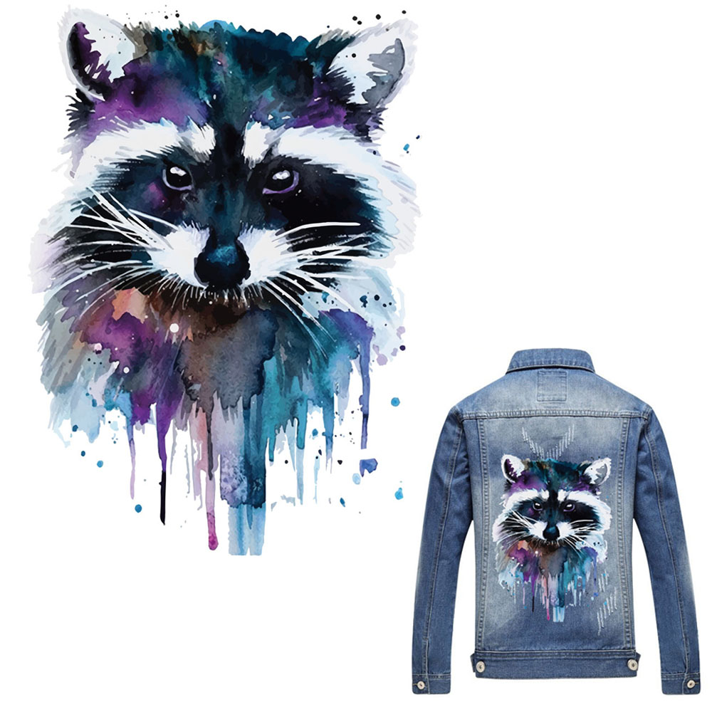2519cm raccoon patch t shirt press heat transfer sticker a level washable iron on appliques for t shirt dresses decoration