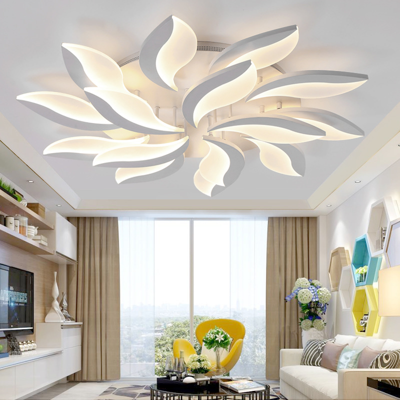 Qiseyuncai Postmodern Living Room Leaf LED Ceiling Light Simple Creative Restaurant Study Bedroom Acrylic Lighting Ceiling Lights     - title=
