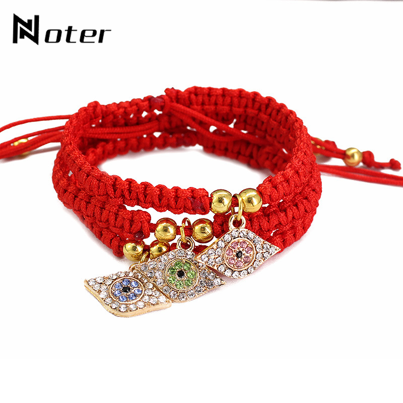 Noter Luxury Zirconia Paved Evil Eyes Red Thread Bracelet Hand Braided Red String Adjustable Braslet For Women Turkish Jewelry