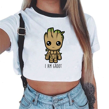 Women T-shirt Cute Bady Groot Printed Sexy Crop Top Tops Tsh