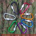10PC/Lot 6# Aluminum Alloy D Shape Carabiner With Screw Lock  D-Ring Clip Buckle Mosqueton For Outdoor Camping EDC Tool AA11-10P