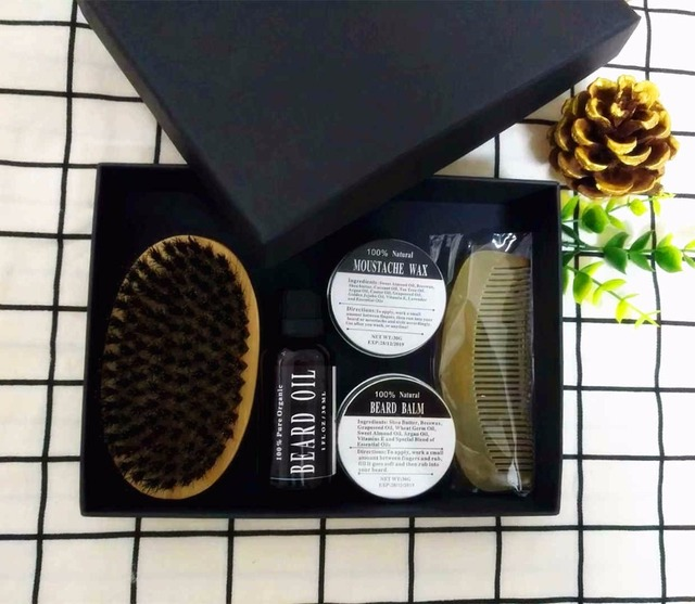 Preboily Men Moustache Wax Cream Beard Balm and Beard Oil Kit with Moustache Comb Brush Storage Gift Box 5pcs/Box 1