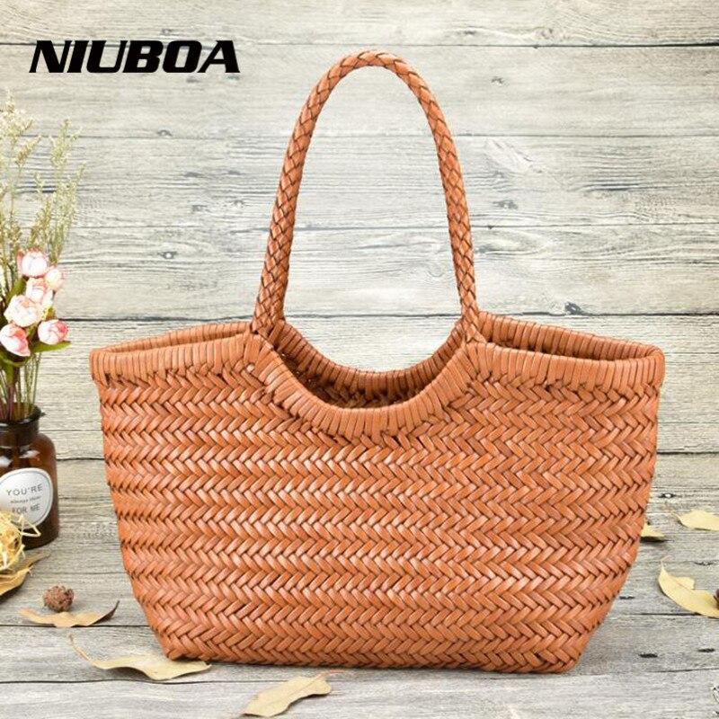 Handbags Women s Genuine Leather Shoulder Bag Weaving Casual Shopping Bag Vintage Big Tote Purse Cowhide