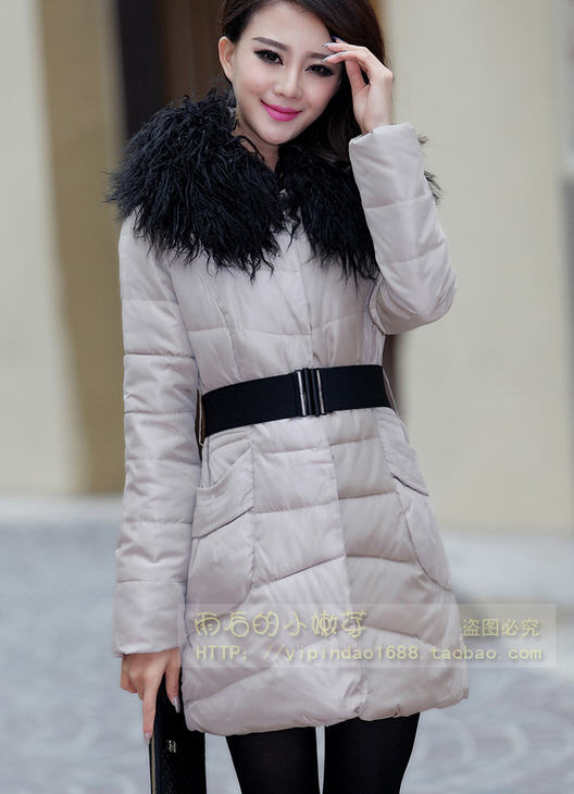 2013 New Girls Long Nagymaros collar hooded wool coat womens winter thick pleated warm padded down coat free shipping H1786