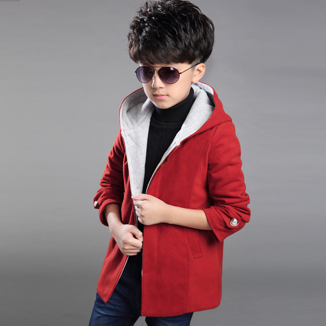 2017 Selling New Children's Clothing,Boys Autumn And Winter Long Section Of Thick Warm Hooded Red Coat Slim Woolen Coat Jacket