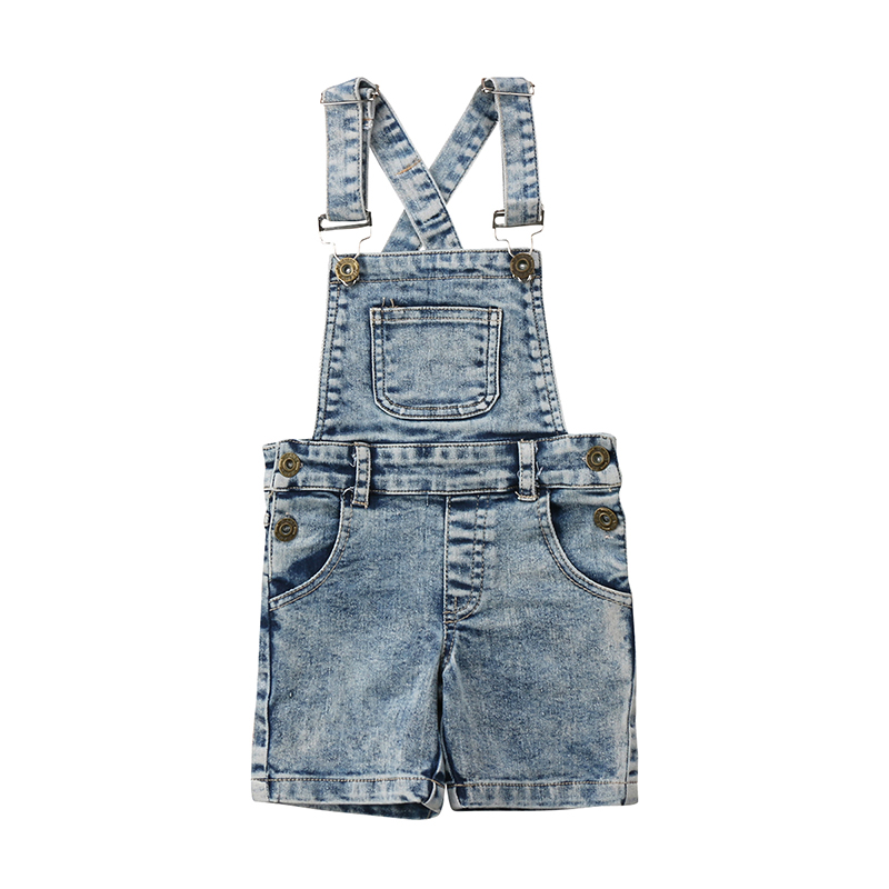 Kids Baby Boys Girls Denim Bib Pants Overalls Jean Outfits Sleeveless Back Cross Denim Shorts Jumpsuit Outfits Summer Clothes все цены