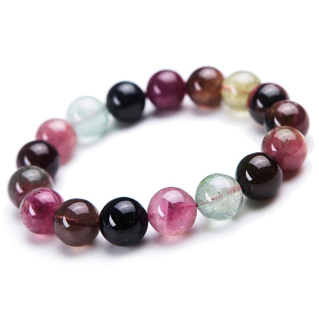 12mm Genuine Natural Multi Color Tourmaline Gem Stone Round Beads Bracelets For Women Femme Charm Stretch Charm Crystal Bracelet