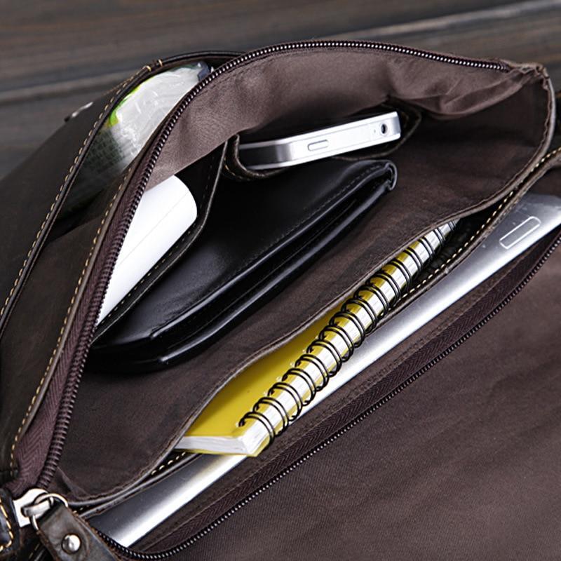 New Retro Ölwachs Echtes Leder herren Klassische Kleine Messenger - Handtaschen - Foto 3