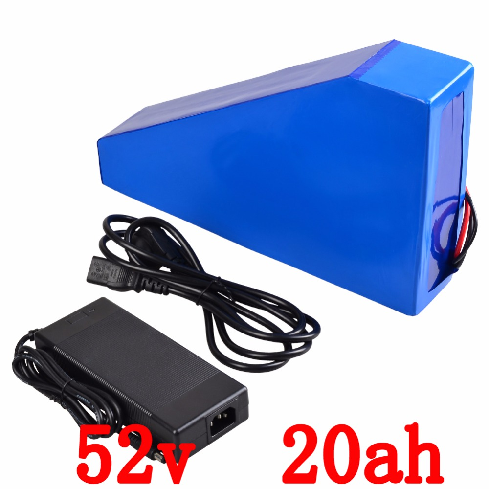 все цены на US EU AU No Tax Electric Bicycle 52V 20Ah Lithium ion Battery 52V 1000W E BIKE Triangle Battery Pack 14S Bateria +Charger