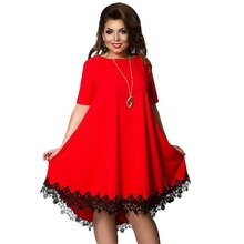 Women Large Size Patchwork Tassel Dress 2018 Casual Loose Plus Female Clothing L -6xl Blue Red Chiffon