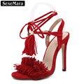 Sexemara mulheres bombas sexy vermelho borla de salto alto rendas até sapatos de salto alto mulher casamento sapatos de festa sandálias gladiador das mulheres