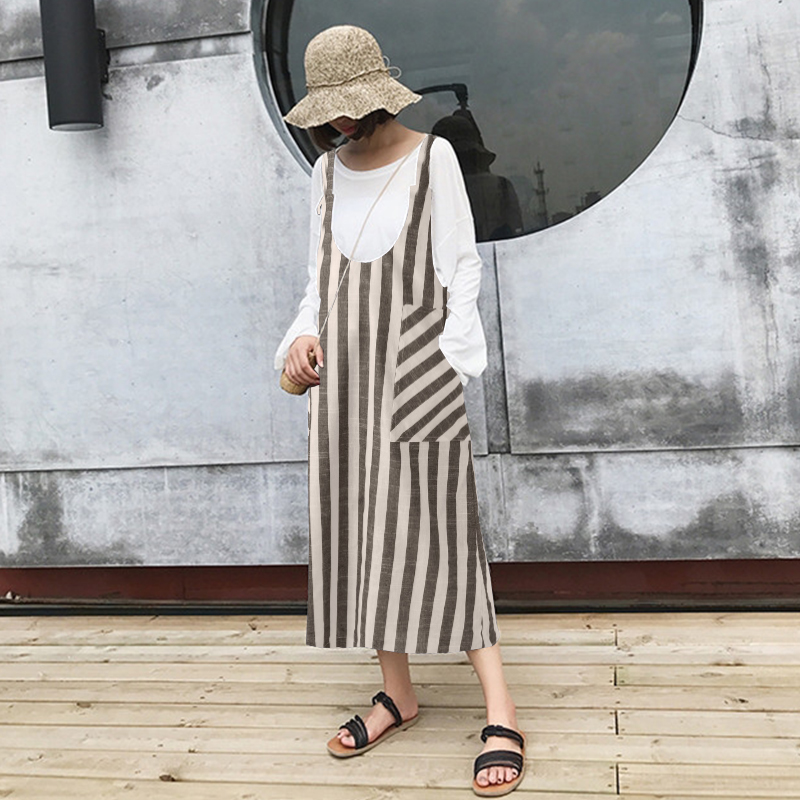 Top Fashion ZANZEA Women Sleeveless Summer Striped Suspenders Dress Strappy Pockets Dungarees Loose Party Vestido Oversized