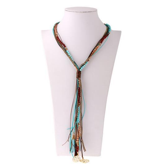 MX0113 Fashion Jewelry New Bohemian Necklaces Women Handmade Handwoven Collier ethnic boho noir mujer bijoux