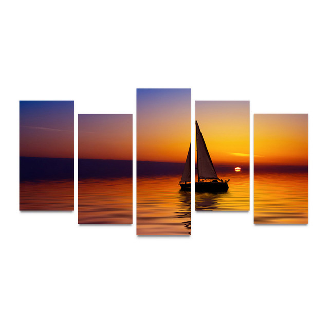 Paint HD Print Frame Wall Art Canvas Poster Home 5 Panel Sunrise Glowing On Ocean Decor Living Room Modular Sailboat Picture