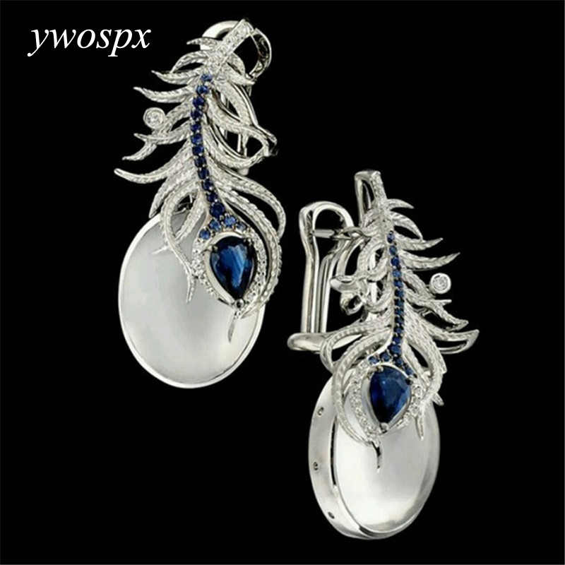 YWOSPX Vintage Silver Color Feather White Moonstone Stud Earrings for Women Jewelry Wedding Engagement Earring Brincos Gift