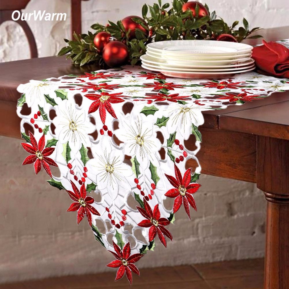 OurWarm 38X176cm Embroidered Table Runner Cutwork Christmas Tablecloth Christmas Decoration For Home New Year Table Decoration