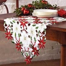 OurWarm 38X176 cm Bestickt Tischläufer Cutwork Weihnachtstischdecke Weihnachtsdekoration für Zuhause Neujahr Tabelle Dekoration