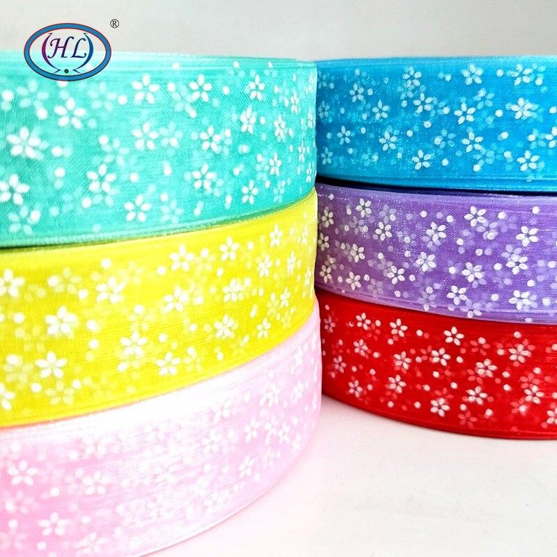 HL 6 м/лот 1 «печатных органзы ленты для изготовления головы украшения Свадебная вечеринка Декоративные DIY Подарочная коробка Упаковка