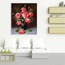 Pink Rose Oil Painting Print on Canvas for Living Room Wall Flowers Bonsai Vintage Home Decorative High Quality Artwork Shipping