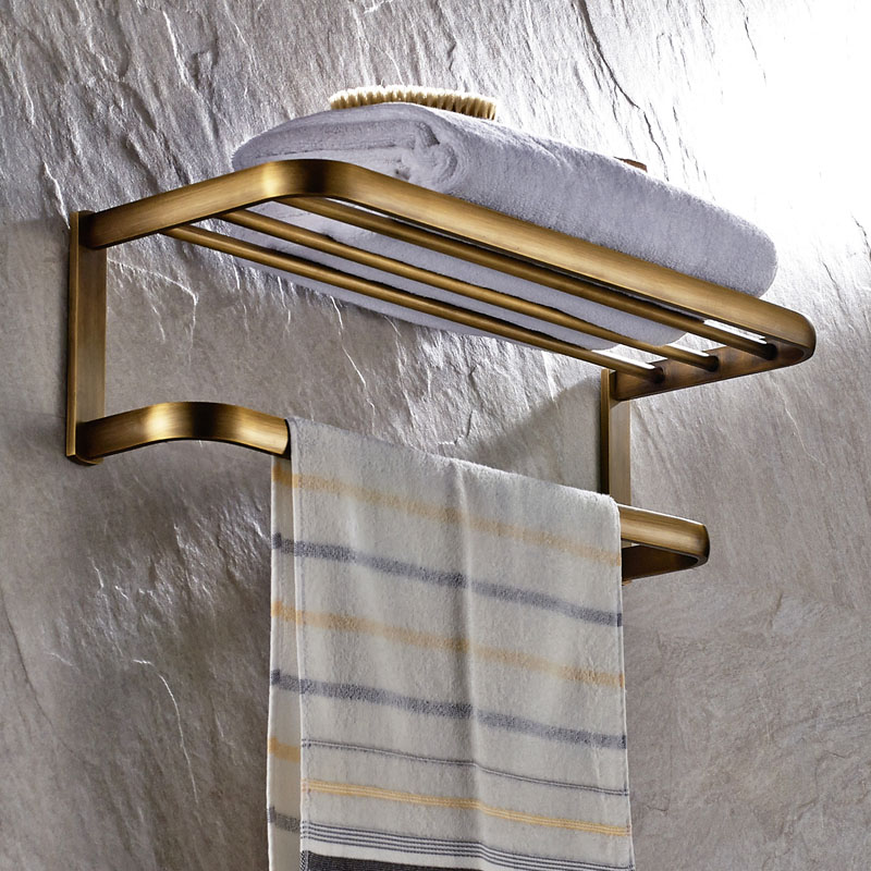 Antique Solid Brass Towel Rack Luxury Square Brushed Wall Mounted Towel Shelves Towel Holder Bathroom Accessories towel rings wall mounted towel holder towel ring solid brass construction antique bronze finish bathroom accessories hj 1808
