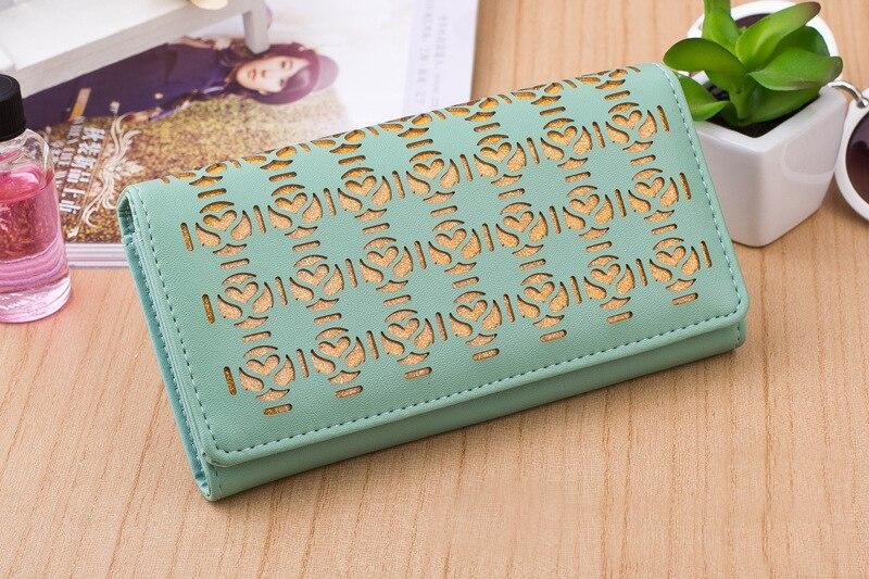 Fashion Women Wallets Pocket PU Leather Hollow Out Brand Lady Handbags Money Coin Purse Long Female Wallet Burse Bags Wholesale